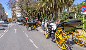 MALAGA, SPAIN - JUNE, 14: Horsemen and carriages in the city str Royalty Free Stock Photo