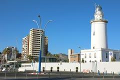 MALAGA, SPAIN - JUNE 12, 2018: lighthouse of Malaga, Spain stock photography