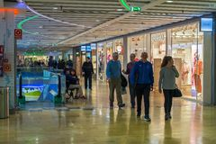 Shopping people at the mall. Malaga, Spain - March 17, 2018. Shopping people at the mall Royalty Free Stock Image