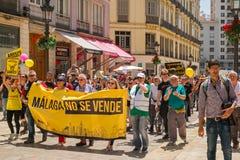 People members of the Malaga No Se Vende platform, manifesting. Malaga, Spain - May 12, 2018. People members of the Malaga No Se Vende platform, manifesting on Stock Photos
