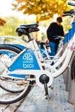 MALAGA, SPAIN - NOV 15, 2014: City bikes parked in the city center in Malaga. Stock Photo