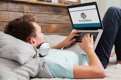 Free MALAGA, SPAIN - NOVEMBER 10, 2015: Wordpress Brand Logo On Computer Screen. Man Typing On The Keyboard. Royalty Free Stock Images - 63729559