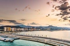 Malaga, Spain Oceanfront. Malaga, Spain resort skyline at Malagueta Beach Royalty Free Stock Photos