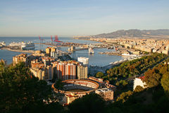 Malaga, Spain Panoramic view with cruise liners Stock Photo