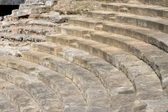 Malaga, Spain. Roman theater at the walls of the Alcazaba. Massive stone steps of the theater. Ruin stock photo