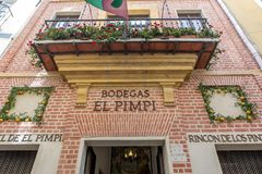 MALAGA, SPAIN - September 2nd, 2018: Facade of the famous restaurant El Pimpi, in the city center of Malaga, Spain. royalty free stock photography