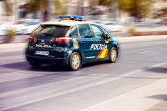 MALAGA, SPAIN - SEPTEMBER 8: Police car during a persecution of Stock Images
