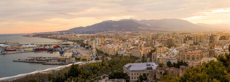 Malaga, Spain at sunset Royalty Free Stock Photos