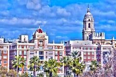 Malaga, Spain Vista das construções da cidade espanhola de Malaga fotografia de stock royalty free