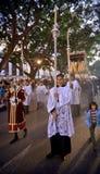 MALAGA SPANIEN - APRIL 09: traditionella processionar av helig vecka I Arkivfoton