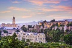 Malaga Spanien Cityscape på havet Royaltyfria Bilder