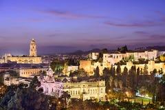 Malaga Spanien Cityscape på havet Arkivbild