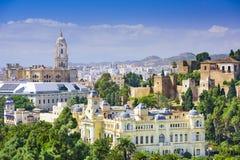 Malaga Spanien Cityscape på havet Royaltyfri Fotografi