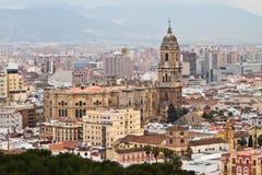 Malaga Spanien domkyrka över blick arkivbild
