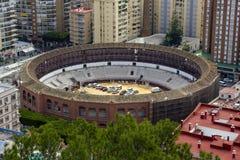Malaga Spanien, Februari 2019 La spanska Malagueta Plazade toros de La Malagueta - tjurfäktningsarena på läsningboulevarden fotografering för bildbyråer