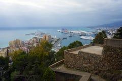 Malaga Spanien, Februari 2019 Panorama av den spanska staden av Malaga royaltyfria foton