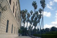 Malaga, Spanje, Februari 2019 Museo Provincial DE las Bellas Artes mooie slanke palmen royalty-vrije stock fotografie