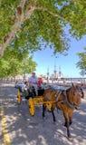 MALAGA, SPANJE - JUNI, 14: Ruiters en vervoer in de stadsstreptokok Royalty-vrije Stock Foto