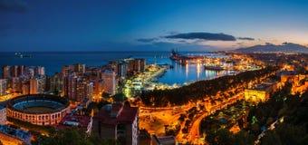 Malaga, Spanje Luchtmening van Stadhuis en tuinen Stock Foto