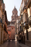 Malaga Street and Cathedral royalty free stock photos
