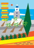 Malaga. A stylized illustration of the city of Malaga, andalucia,Spain Stock Photos