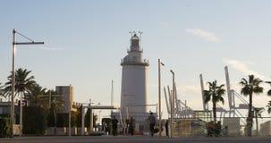 Malaga sunny day bay lighthouse 4k spain stock footage