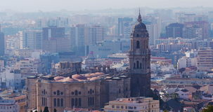 Malaga sunny day famous cathedral church view 4k stock video