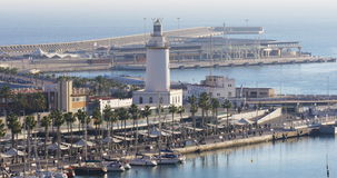 Malaga sunny day walking bay lighthouse 4k stock video