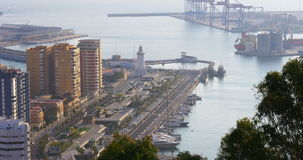 Malaga sunny day walking bay lighthouse 4k stock footage