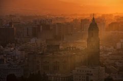 Malaga at sunset Stock Photos