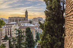 Malaga sunset, Spain. Malaga is a municipality, capital of the Province of Málaga, in the Autonomous Community of Andalusia, Spain Stock Image