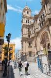 Malaga - torre della cattedrale e facciata e Plaza del Obispo Fotografia Stock Libera da Diritti