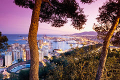 Malaga,View of cityscape with harbour Royalty Free Stock Photos