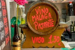 Cask of Malaga vine. Malaga vine in wooden cask Stock Image