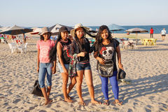 Malagasy beauties, teenager  girls resting on the beach Stock Photos