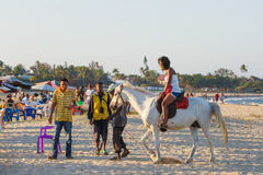 Malagasy beauty, beautiful girls ride horse Stock Photo
