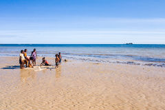 Malagasy children on the beach Stock Photography
