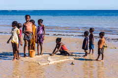 Malagasy children on the beach Stock Image
