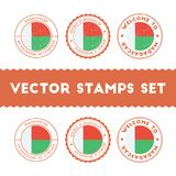 Malagasy flag rubber stamps set. National flags grunge stamps. Country round badges collection Stock Image