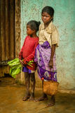 Malagasy girls. Two young girls in the mountain village, Madagascar Stock Image