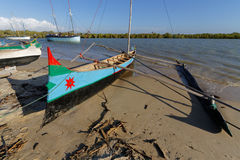 Malagasy outrigger canoe Royalty Free Stock Photos