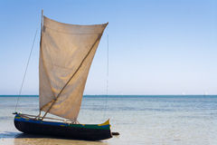 Malagasy outrigger pirogue Royalty Free Stock Images