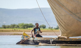 Malagasy paddler. In a traditional malagasy boat, Anakao, Madagascar Stock Images