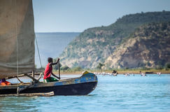Malagasy paddler. In a traditional malagasy boat, Anakao, Madagascar Stock Image