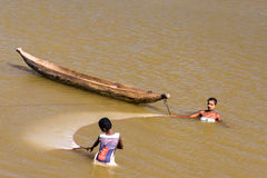 Malagasy people fishing Stock Photo