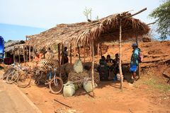 Malagasy peoples on big colorful rural Madagascar marketplace Stock Image