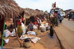 Malagasy peoples on big colorful rural Madagascar marketplace Stock Photo