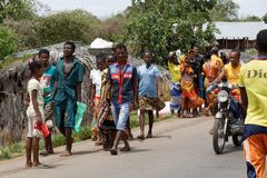 Malagasy peoples on rural city Sofia in Madagascar Stock Photo
