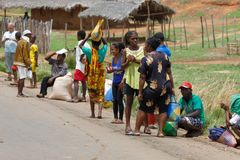 Malagasy peoples on rural city Sofia in Madagascar Royalty Free Stock Photo