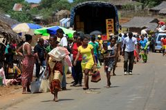Malagasy peoples on rural city Sofia in Madagascar Stock Photography